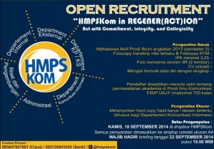"""Open Recruitment """"HMPSKom in Regener(Act)ion"""" Act in Commitment, Integrity and Collegiality"""