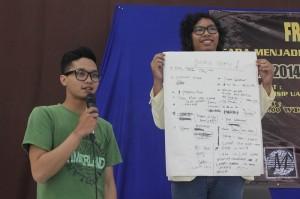 Mahasiswa FISIP UAJY mempresentasikan rencana menjadi sebuah EO dalam suatu acara
